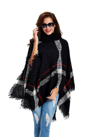 Turtleneck Cape Poncho Sweater-August Bee