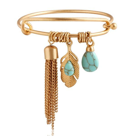 Vintage Turquoise Tassel Bangle-August Bee
