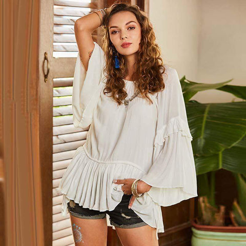 White Ruffle Flare Sleeve Blouse-August Bee