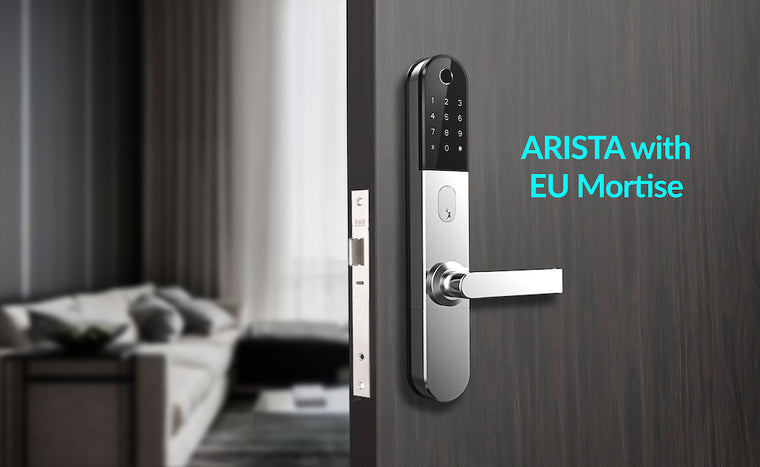 ARISTA is a SMART Digital Keyless Bluetooth Electronic Door Lock compatible with Australia New Zealand ANSI EU European Mortise Lock or Tubular Latch 30mm 60mm 70mm TTLOCK SCIENER from Door Guard Hotel Motel