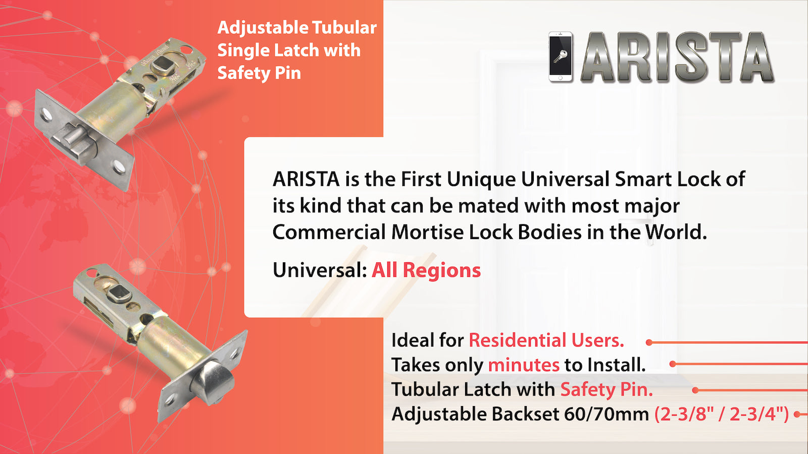 ARISTA is a SMART Digital Keyless Bluetooth Electronic Door Lock compatible with Australia New Zealand ANSI EU European Mortise Lock or Tubular Latch 30mm 60mm 70mm TTLOCK SCIENER from Door Guard