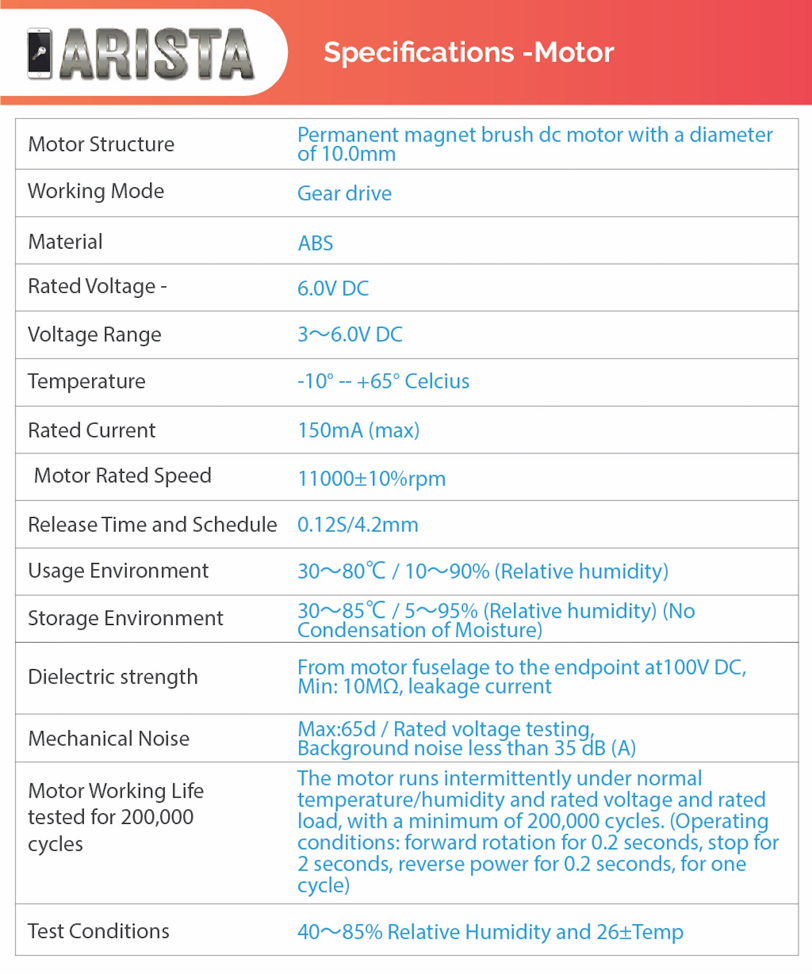 ARISTA Motor Specifications