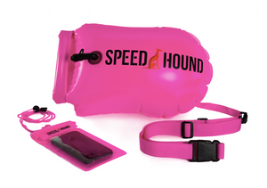 Speed Hound Swim Buoy DELUXE with Dry Bag and Waterproof Phone Case (Hi Vis Pink)