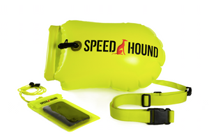 Speed Hound Swim Buoy DELUXE with Dry Bag and Waterproof Phone Case (Highlighter Yellow)