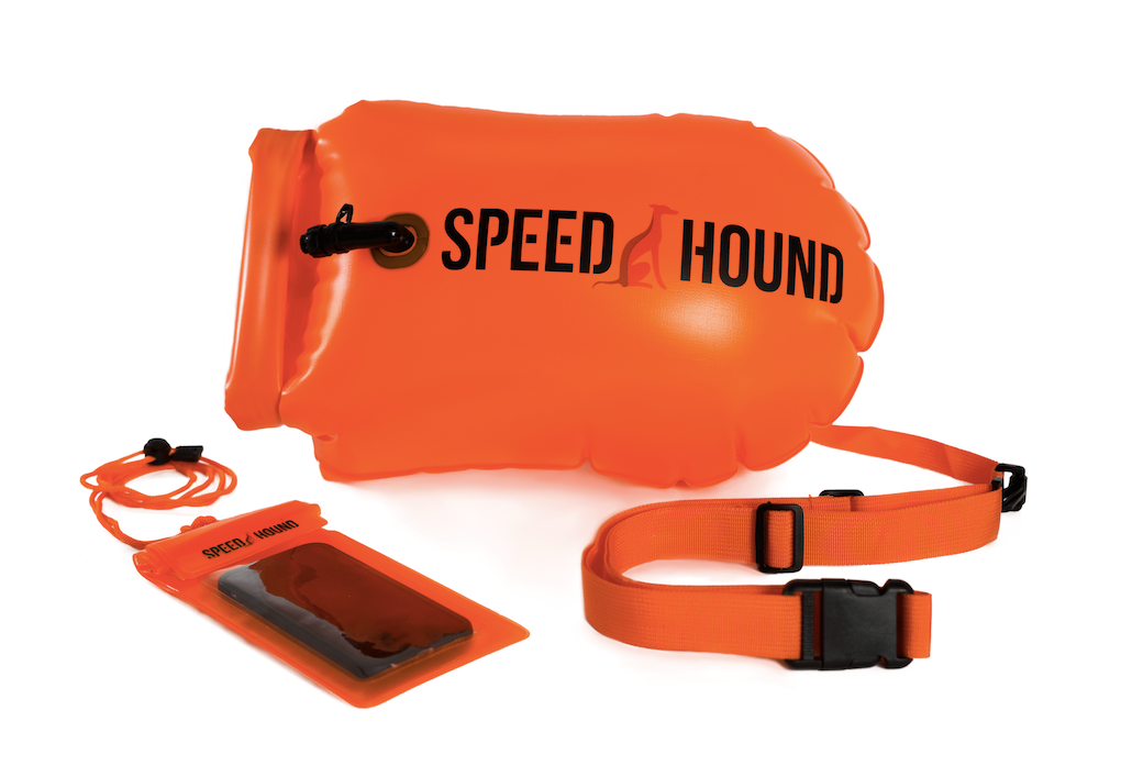 Speed Hound Swim Buoy DELUXE with Dry Bag and Waterproof Phone Case (Safety Orange)