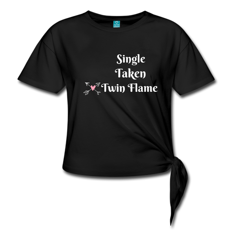Twin Flame Knotted T-Shirt - black