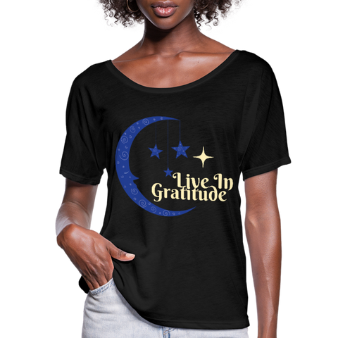 Moon Gratitude Flowy Top - black
