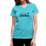 Live In Gratitude V-Neck T-Shirt - aqua
