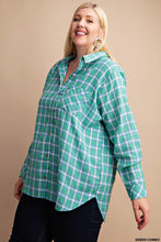 Basic Babe Plaid Button Up- Aqua/Blue