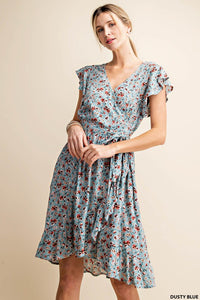Floral Wrap Dress- Dusty Blue