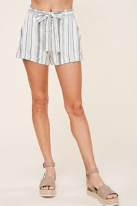 Striped Linen Tie Shorts