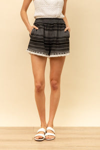 Striped Fringe Hem Shorts