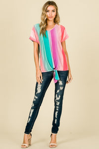 Multi-color Striped Tie Tee