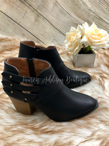 Button Strap Booties- Black