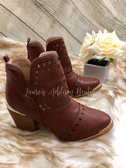 Cut Out Booties with Metal Accents