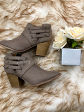 Button Strap Booties- Taupe