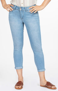 Light Wash Denim Stretch Cuffed Capris