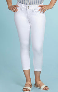 White Stretch Cuffed Capris