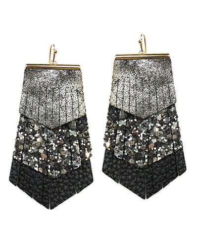 Layered Leather Earrings- Black/Silver