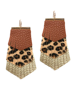 Layered Leather Earrings- Cheetah/Brown
