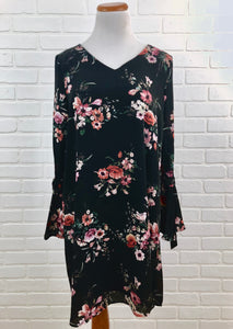 Chiffon Floral Dress- Black and Blush