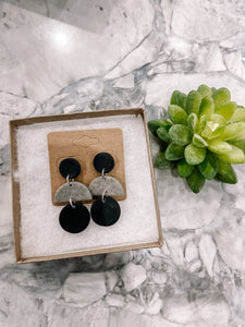 Granite & Black Layered Clay Earrings
