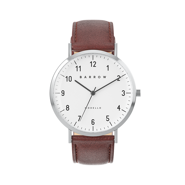 Sample Sale -  Modello, Steel Watch | Brown Leather + Mesh