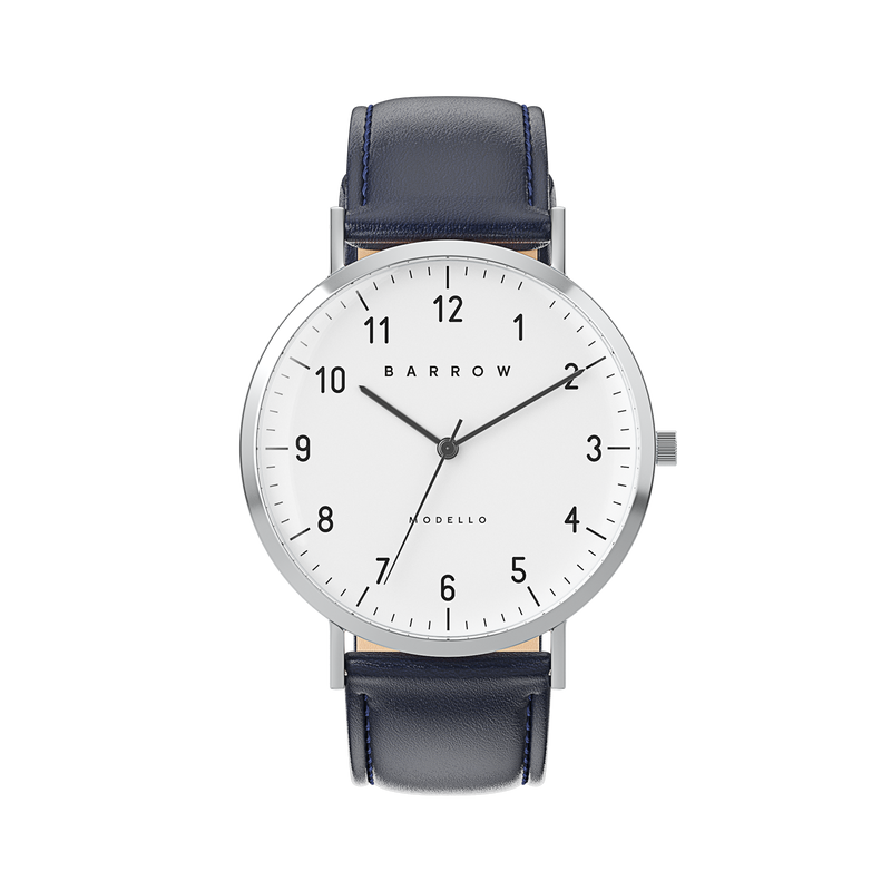 Petite Steel Watch | Navy Leather + Mesh
