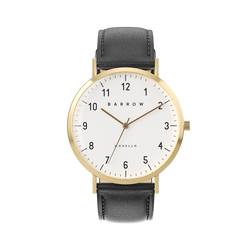 Gold watch with black watch strap - petite
