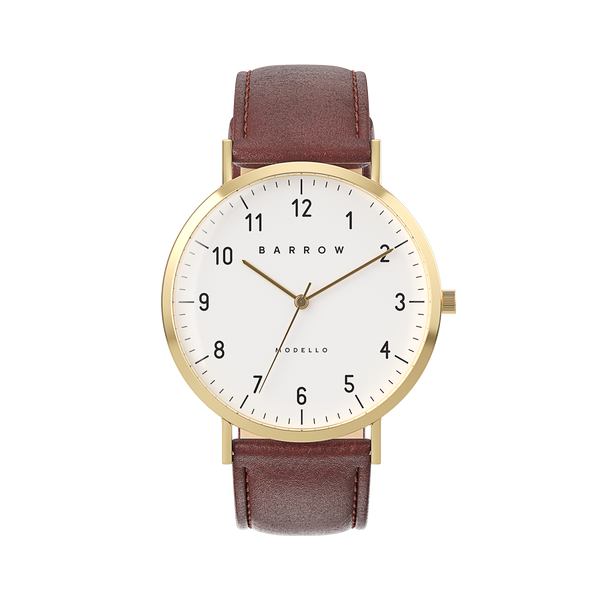 Gold watch with brown watch strap