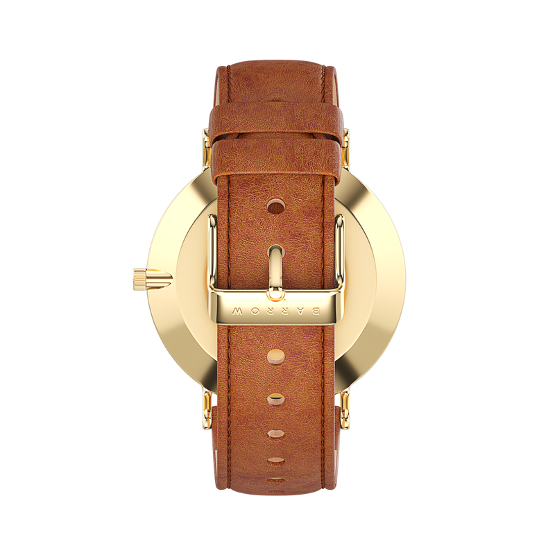 Gold watch with tan watch strap back view