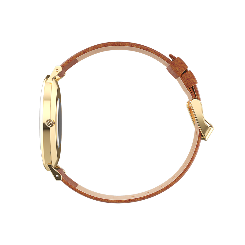 Gold watch with tan watch strap side view