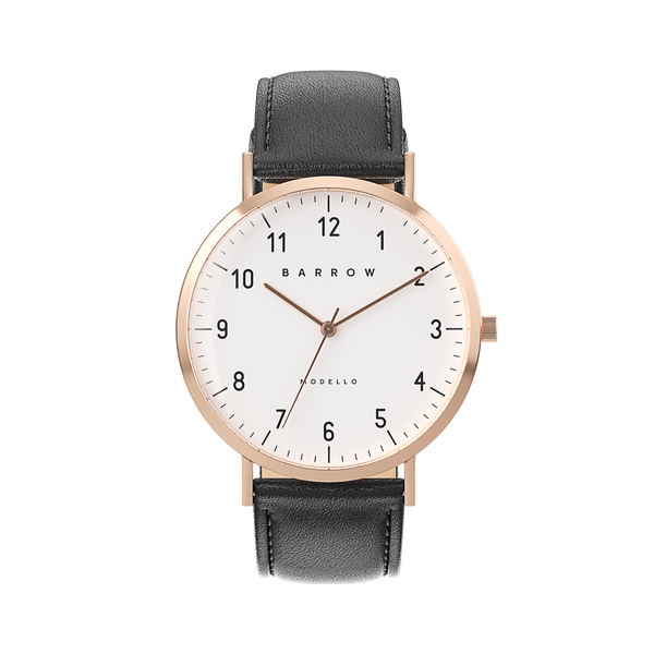 Petite Rose Gold Watch | Black Leather + Mesh