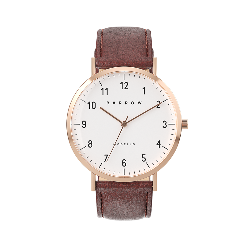 Petite Rose Gold Watch | Brown Leather + Mesh