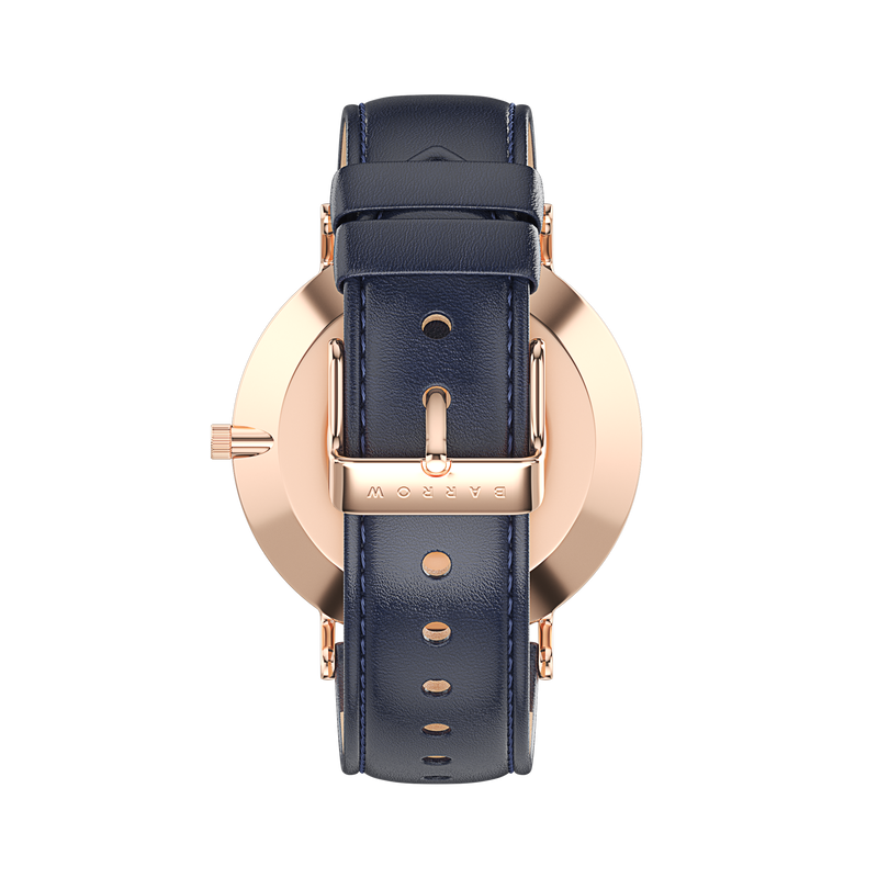 Petite Rose Gold Watch with Navy Leather watch strap