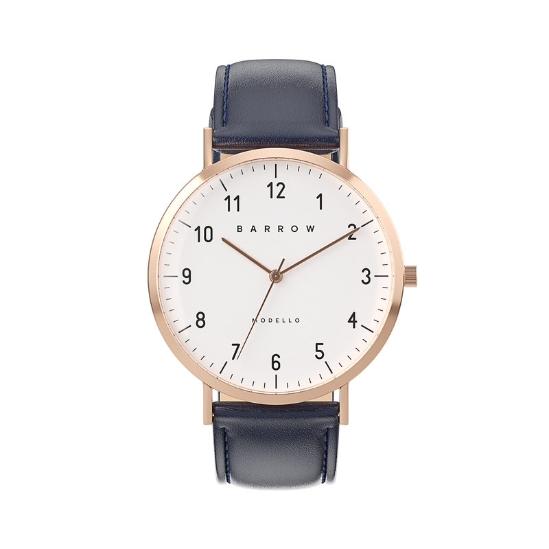 Petite Rose Gold Watch | Navy Leather + Mesh