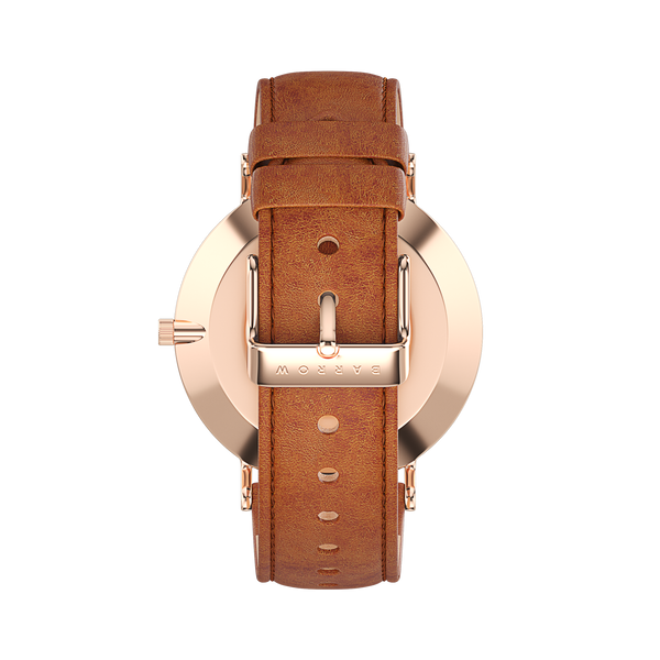 Petite Rose Gold Watch with tan Leather watch strap back view