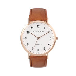 Petite Rose Gold Watch with tan Leather watch strap