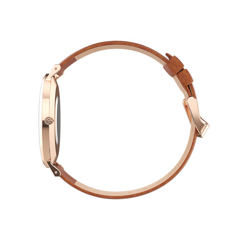 Petite Rose Gold Watch with tan Leather watch strap side view