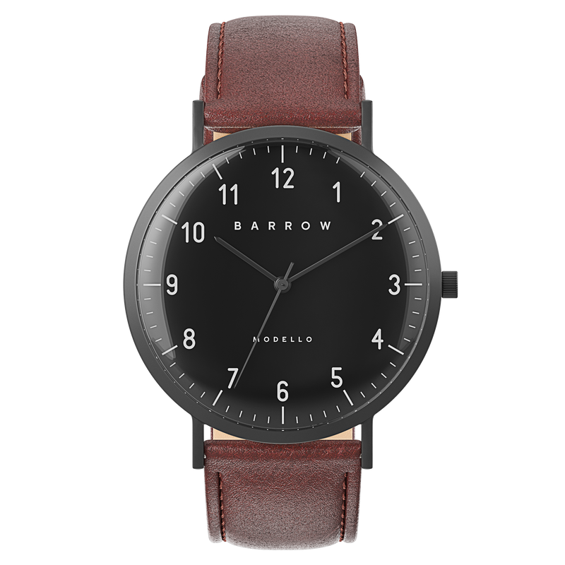 Sample Sale - Modello, Coal Watch | Brown Leather + Mesh