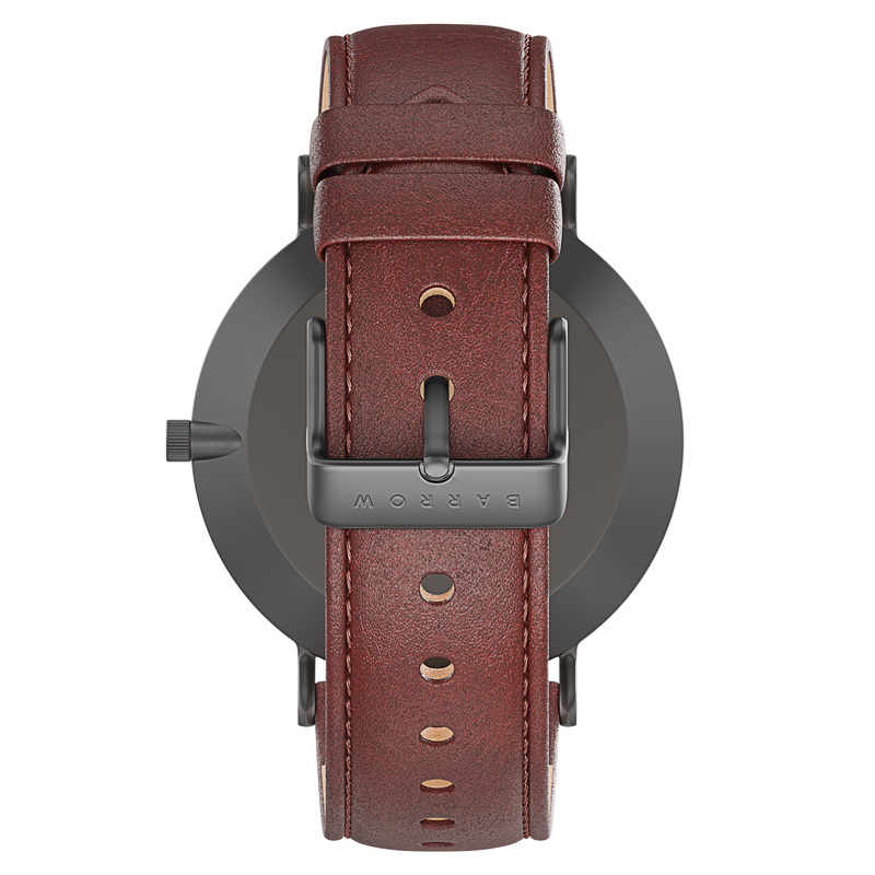 Black watch with tan watch strap reverse view