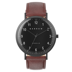 Black watch with tan watch strap