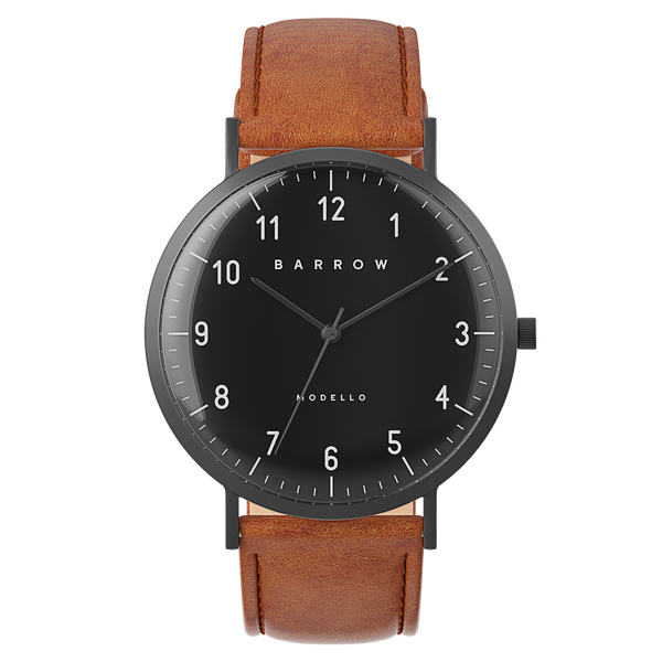 Modello, Coal Watch | Tan Leather + Mesh