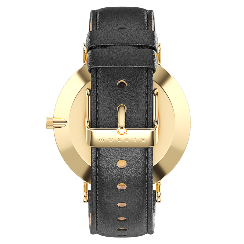 Gold watch with black watch strap reverse view