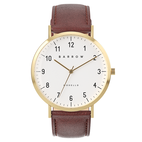 Modello, Gold Watch | Brown Leather + Mesh