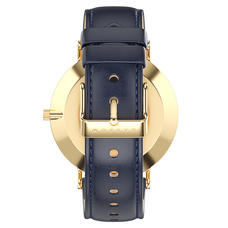 Gold watch with navy watch strap reverse view