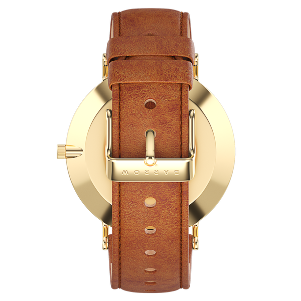 Gold watch with tan watch strap reverse view
