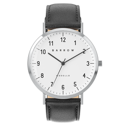 silver watch with black watch strap