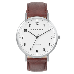 silver watch with brown watch strap