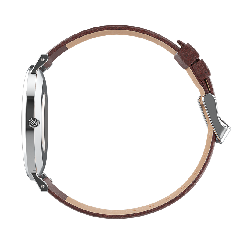 silver watch with brown watch strap side view